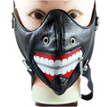 New Punk Rock Hip-Hop Face Mask Cool Big Teeth Party PU Leather Dance Mask Fashion Party Abstract kill Man Performance Mask