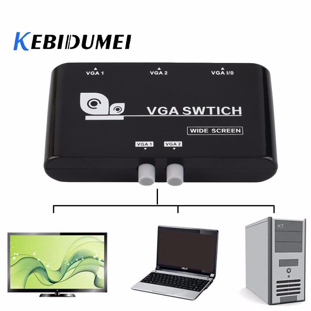 Мини-переключатель KEBETEME с 2 портами VGA, несколько входов, ручной переключатель для обмена данными с VGA/SVGA для ЖК-ПК и ноутбуков