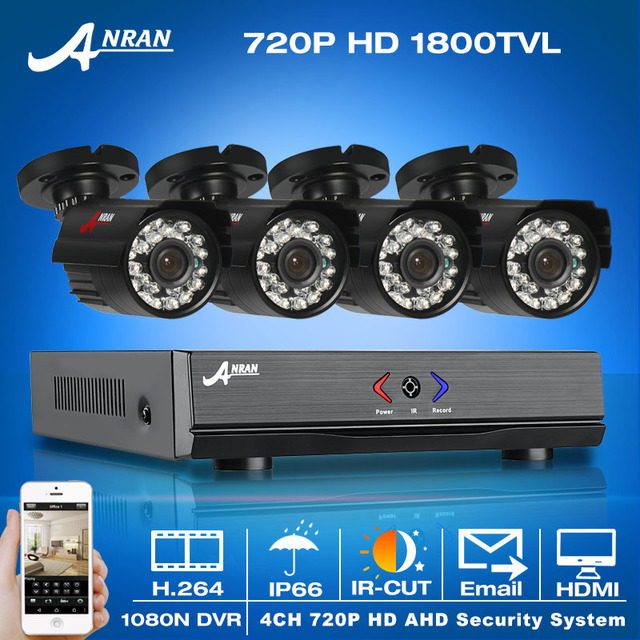 ¡ Venta caliente! 4CH 1800TVL 1080N HDMI DVR Sistema de Seguridad y 720 P HD Impermeable Al Aire Libre Cámara CCTV Home Video Correo Electrónico de Alarma de vigilancia