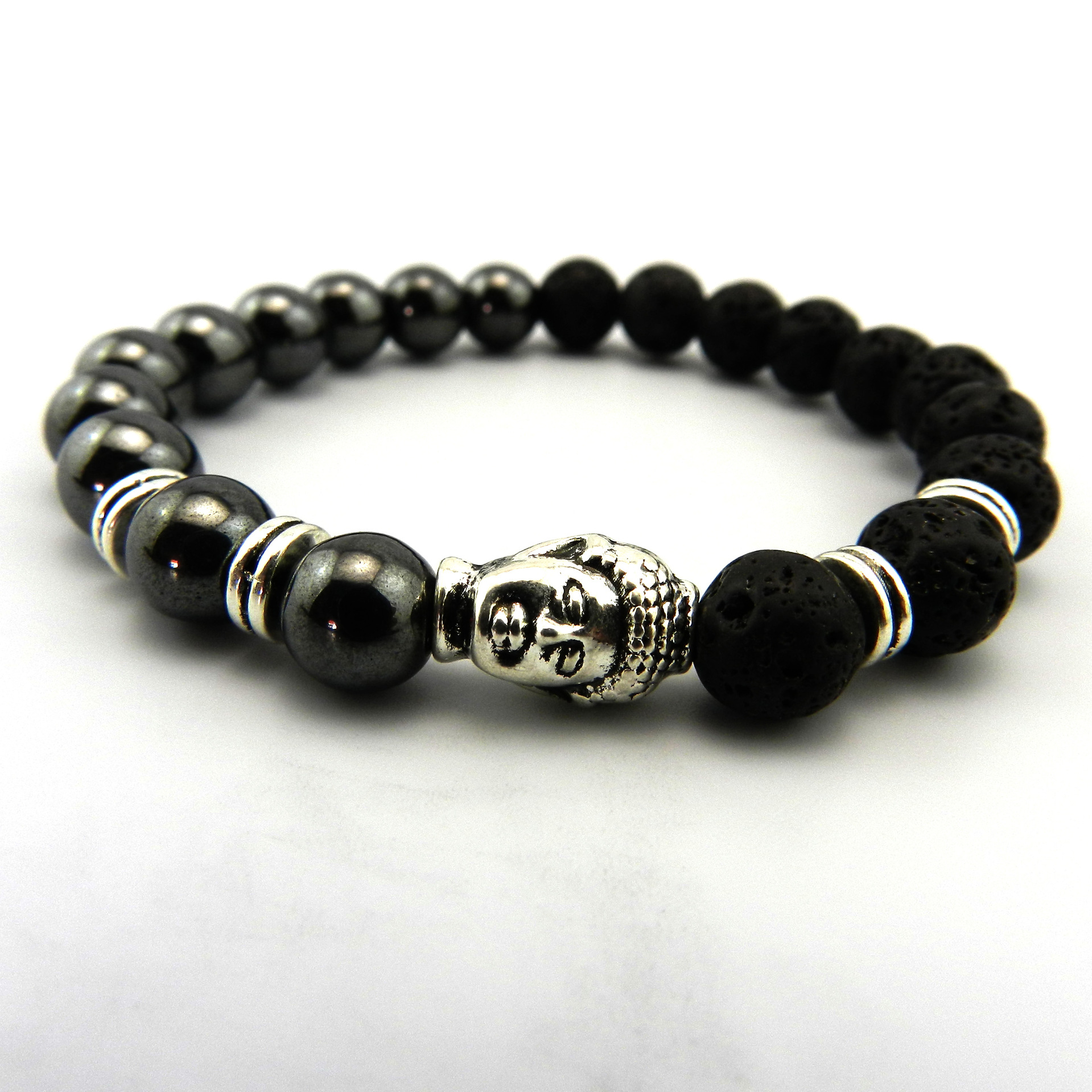 5pcs Handmade 8mm Volcano Lava Beads Bracelet Natural Stone Beads Buddha head Yoga Bracelet Jewelry Gift For Men Christmas