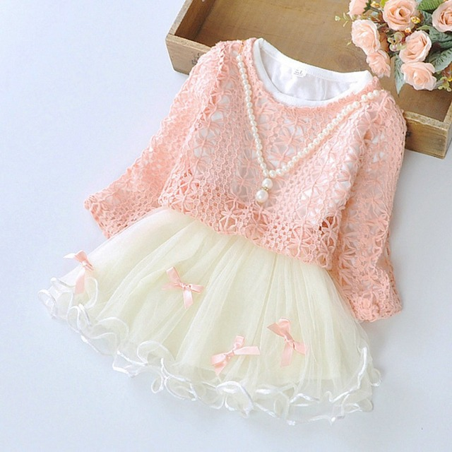 Spring Autumn Long Sleeved Bow Infant Kid Baby Girls Knitting Tops+Dresses Two Pieces Princess Tutu Party Dress Vestidos S2829