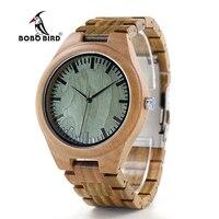 BOBO BIRD V G19 Green Sandalwood Wood Men's Wristwatch Japan Movement Quartz Watch Classic Folding Clasp horloges mannen