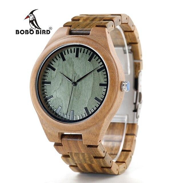 BOBO BIRD V-G19 reloj de pulsera de madera de sándalo verde para hombre reloj de cuarzo con movimiento japonés