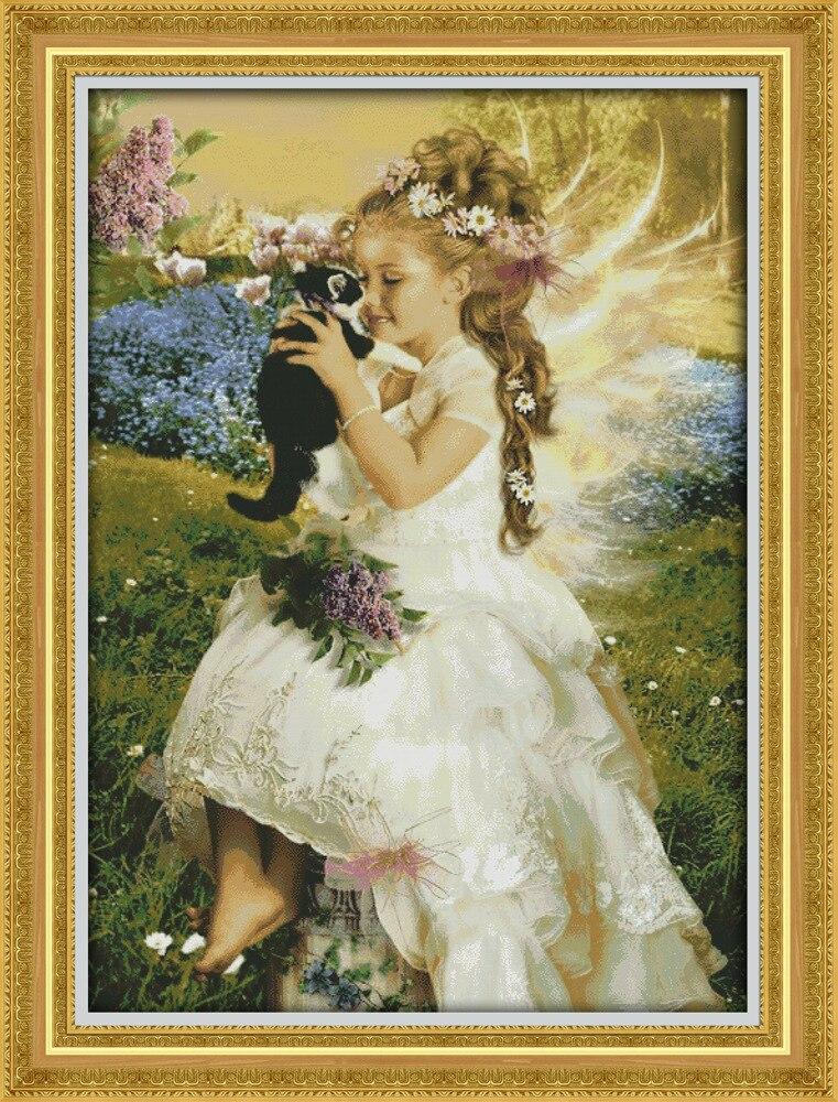 La belle fille tenant le chat imprimé toile DMC compté point de croix Kits imprimé point de croix ensemble broderie couture