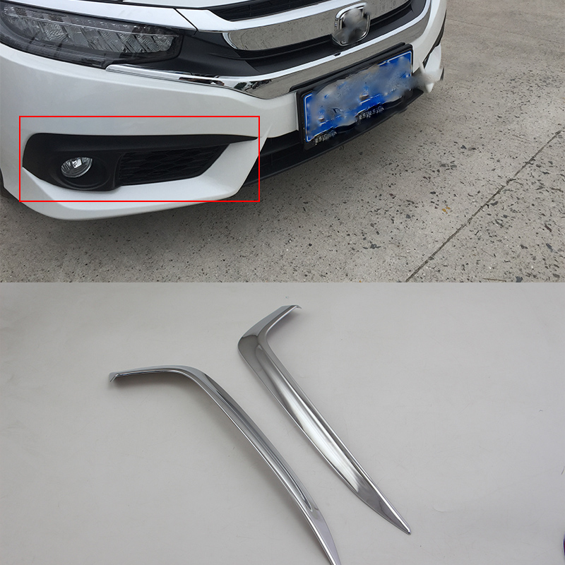 Car body kits front foglight trims Car Sticker For HONDA CIVIC 2017 ABS chrome in Chromium Styling from Automobiles Motorcycles
