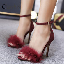 2019 new brand designer ladies sandals high heels fur buckle sexy bride wedding Oversize size 35-43  C0898