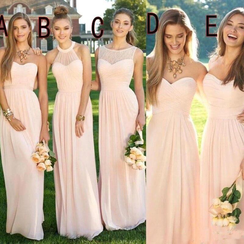 2019 rose pas cher longues robes de demoiselle d'honneur décolleté mixte en mousseline de soie d'été formelle robes de bal