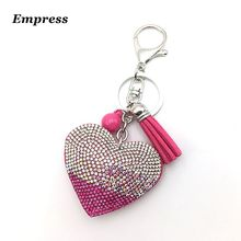 Mix color baby gift peach heart 2016 High quality wholesale 7 new fashion charm key chain pendant rhinestone love leather
