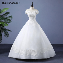 BANVASAC 2018 Vintage V Neck Ball Gown Bridal Dresses Lace Appliques Real Photos Embroidery Plus Size Wedding