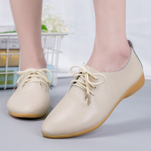 Image 5 - dobeyping 2018 New Women Shoes Genuine Leather Womens Shoe Lace Up Female Flats Pointed Toe Woman Oxfords Large Size 35 44