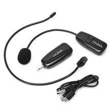 2.4G mikrofon bezprzewodowy zestaw słuchawkowy megafon Radio Mic dla głośnika nauczanie spotkanie przewodnik wycieczek mikrofon wysokiej jakości
