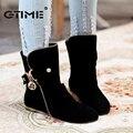 Gtime mulheres botas flats dedo do pé redondo botas plataforma de neve para as mulheres moda rebanho botas de inverno 4 cor # zws56