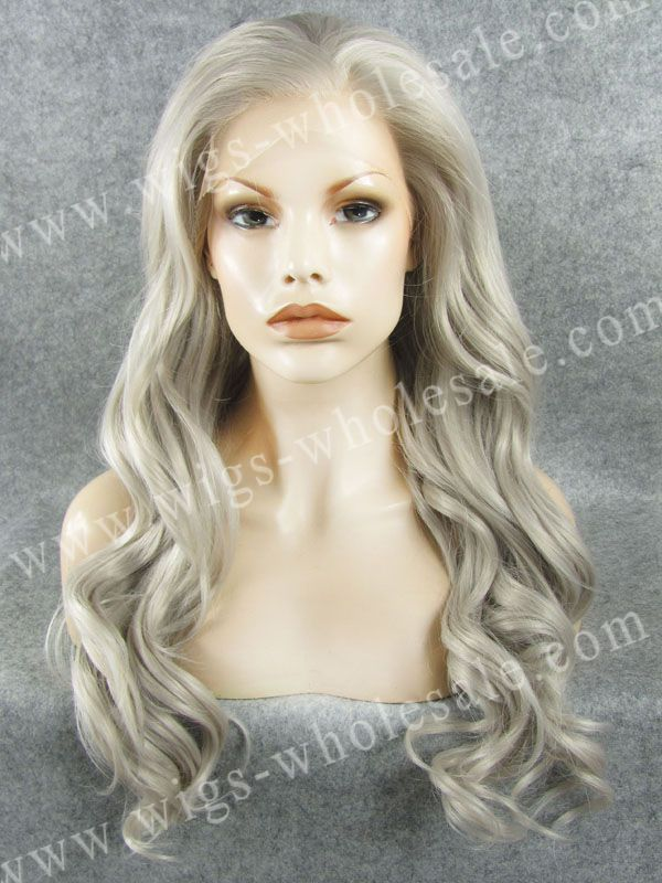 ФОТО Long Body Wave Gray Swiss Synthetic Lace Front Wig Heat Resistant