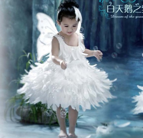 Christmas bird chick cartoon princess dress dance clothes female performance clothing angel wings feather tutu dress