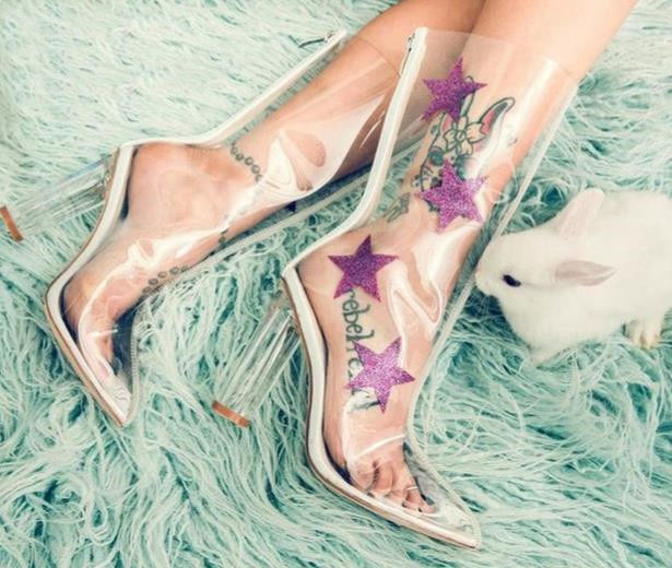 New Arrival Spring Autumn Party Dress Shoes Women Pointed Toe High Heel Booties PVC Transparent Stars Decoration Ankle Boots