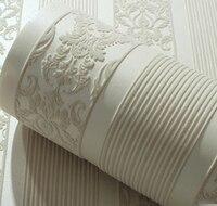 Luxury 3D Light Gray Damask Velvet Flocking Wallpaper Roll For Bedding Room