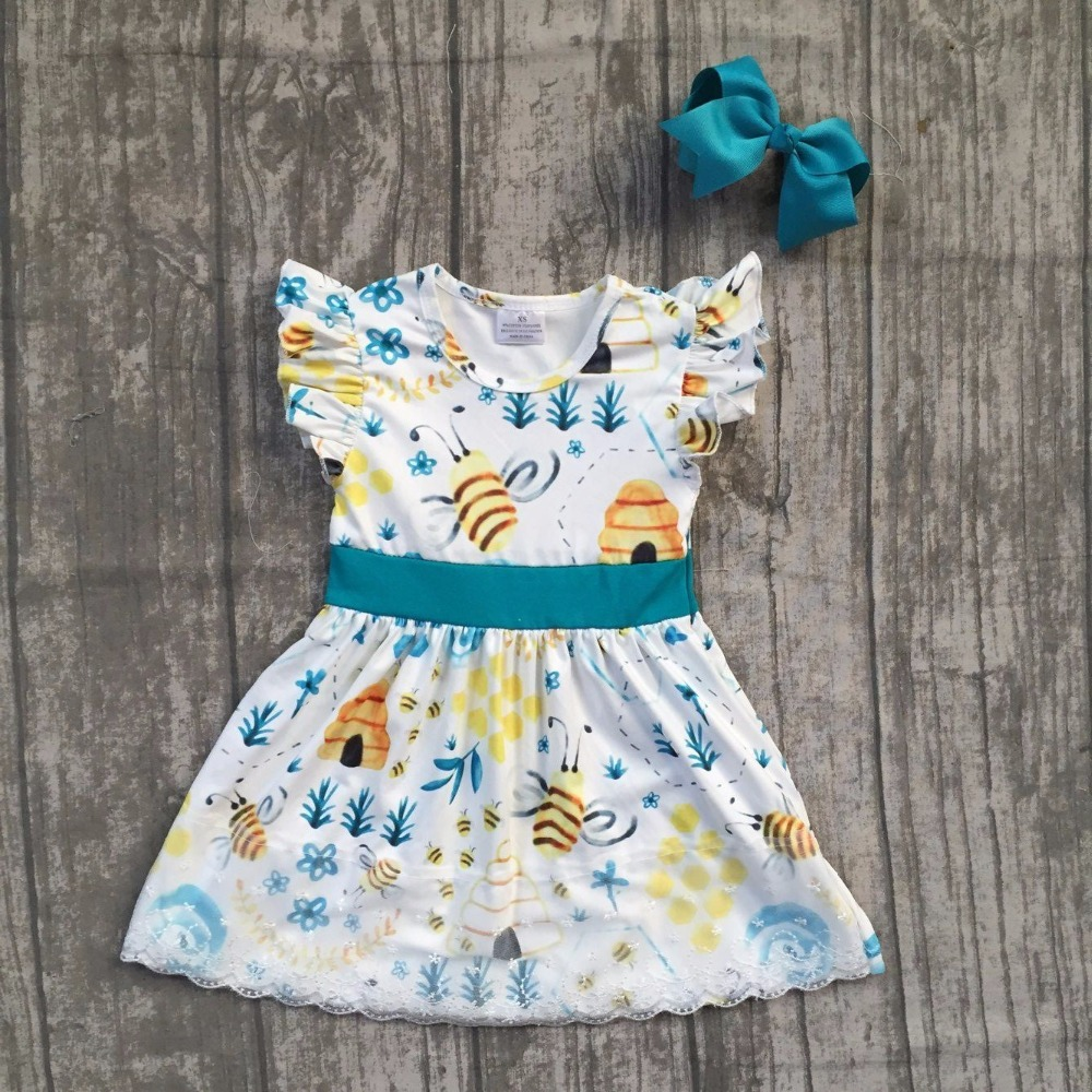 2018 new Summer dress girl kids wear maxi dress bee clothing hot sell super cute dress with matching bow ...