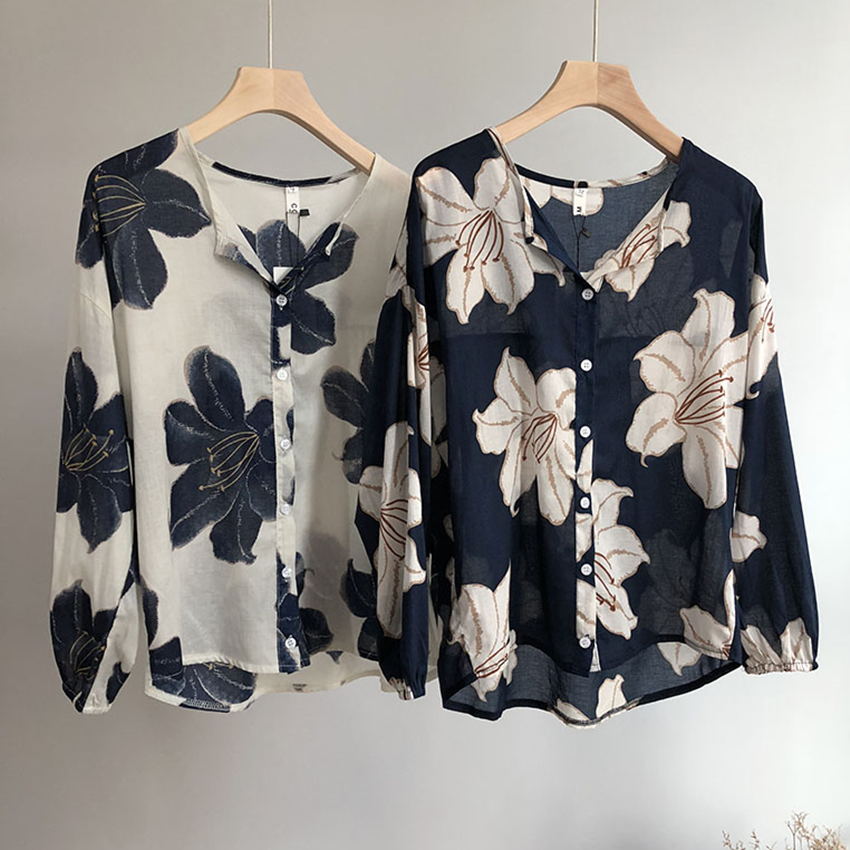 2018 Vintage Woman Summer Floral Print   Blouses     Shirts   Long Sleeve Fashion Soft Ramie Casual Tops Femme V Neck Loose   Blouse   Beige