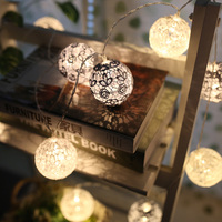 20Led Fairy White Gray Lace Flower Ball Battery Operated String Light 3m LED Decoration For Christmas Garland New Year gerlyanda