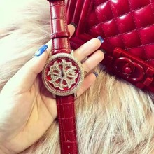 Fashion Brand Watch Women Big Diamond Stone Watches Lady Shining Rotation Dress watch Female Genuine Leather Quartz Wristwatches