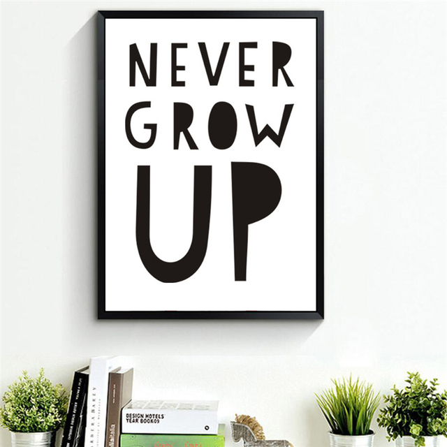 Grow Up Quotes Stunning Haochu Never Grow Up English Letter Canvas Painting Life Quotes