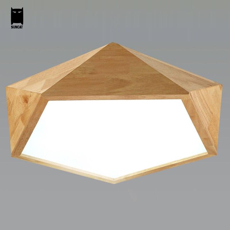 LED Oak Wood Acrylic Ceiling Light Fixture Modern Nordic