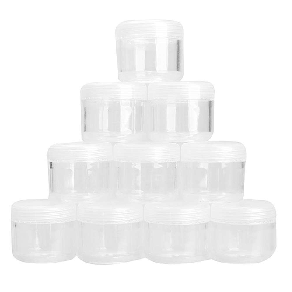 10Pcs 20g Portable Plastic Cosmetic Empty Jar Pot Box Makeup Nail Art Cosmetic Bead Storage Container