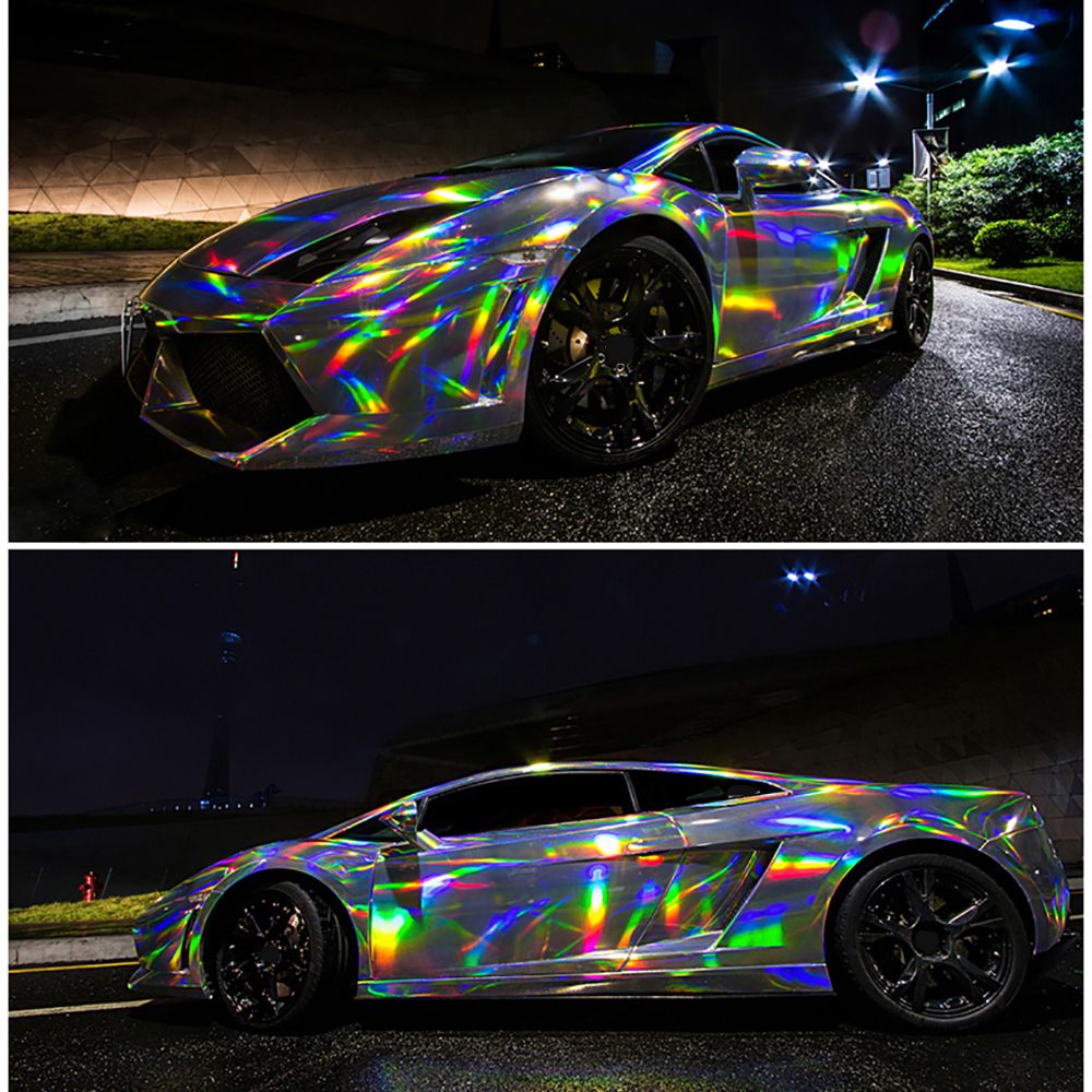 Aliexpress com buy car styling 50cmx200cm chrome laser holographic rainbow film car wrap stickers sheet pvc auto color changed decorative decal from