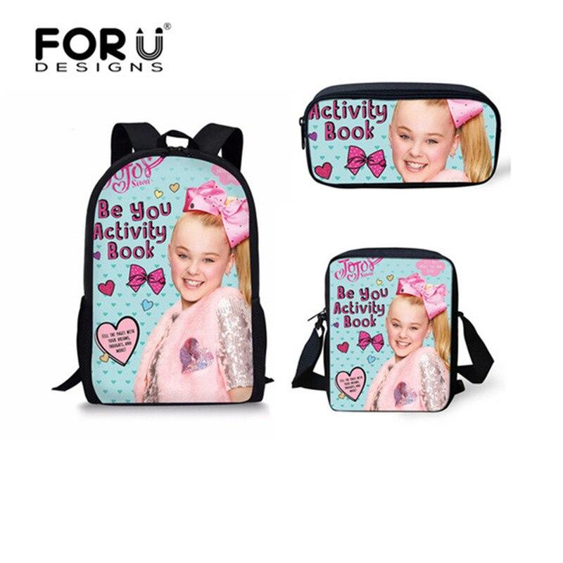 FORUDESIGNS Cute Teenagers Girls School Bags Superstar JoJo Siwa Printing Children Shoulder Bookbags Casual Students Schoolbags