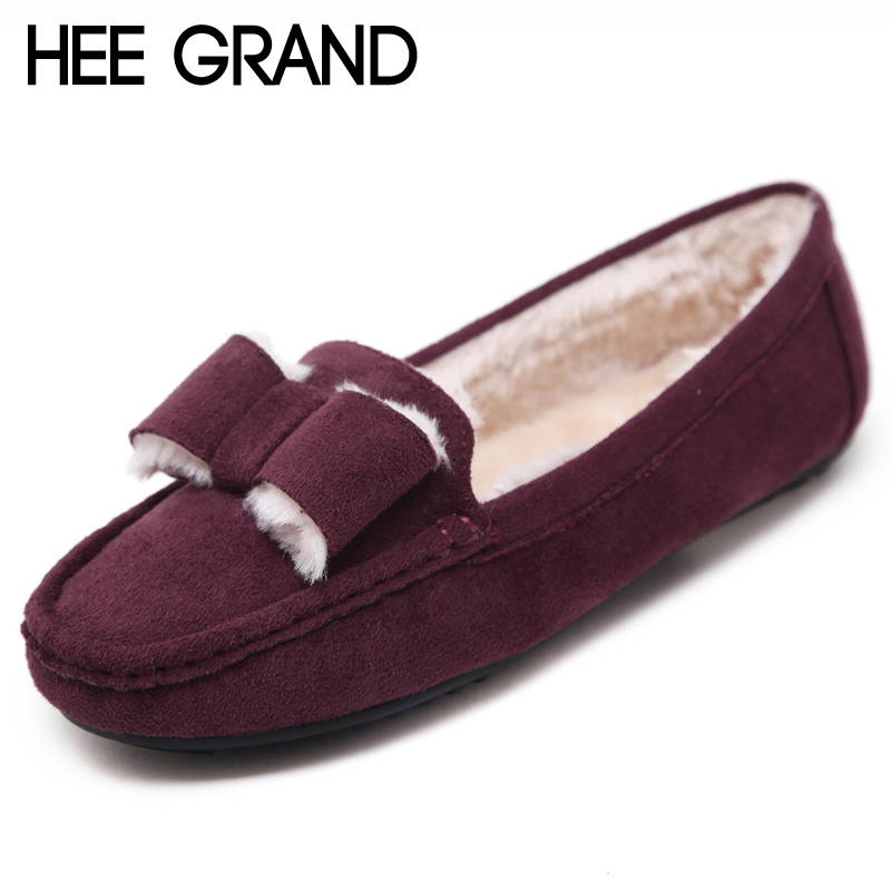 HEE GRAND 2017 Winter Loafers Flock inside Women Shoes Slip On Flats Warm Bowtie Platform Suede Shoes Woman Size 35-41 XWD6154 hee grand camouflage creepers 2017 lace up platform shoes woman wedges loafers slip on flats casual fahsion woman shoes xwd6038