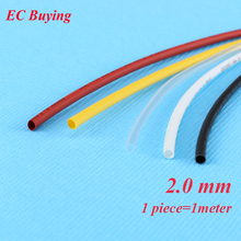 1m /pcs 2mm Heat Shrink Tubing Wire Wrap Heat-Shrink Tube 2:1 Thermo Jacket  Insulation Matierial Black White Yellow Clear Red