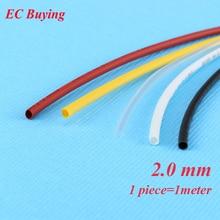 1 m/unids 2mm Tubería Encogible Wire Wrap Tubo Termorretráctil 2:1 Termo Aislamiento Chaqueta Matierial Negro Blanco amarillo Claro Rojo