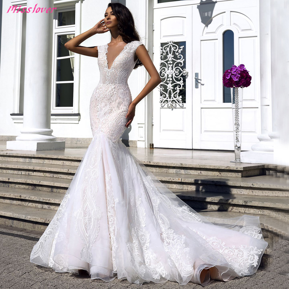 Robe De Mariee Sexy Illusion V-neck Backless Lace Mermaid Wedding Dresses 2019 New Luxury Bridal Gown Vestidos De Noiva