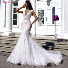 Vestido de novia escotado por detrás de encaje sirena, ilusión sexy, cuello en V, novedad 2019