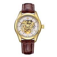 ORKINA Vintage Gold Hollow Skeleton Watch Mens Steel Case Genuine Leather Strap Automatic Mechanical Watches Waterproof Style