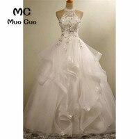 2018 бальное платье свадебное платье с кристаллами бисера Robe De Mariage развертки поезд Белый Vestido De Noiva оборками из органзы свадебное платье