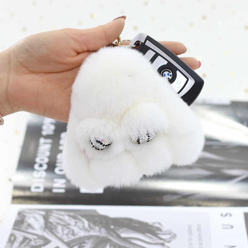 Real Rex Rabbit fur Pingente 8 CENTÍMETROS Chaveiro Coelho Chaveiro Bola De Pêlo De Coelho Fofo Saco Boneca de Brinquedo Carro Chave Charme anel Para As Mulheres