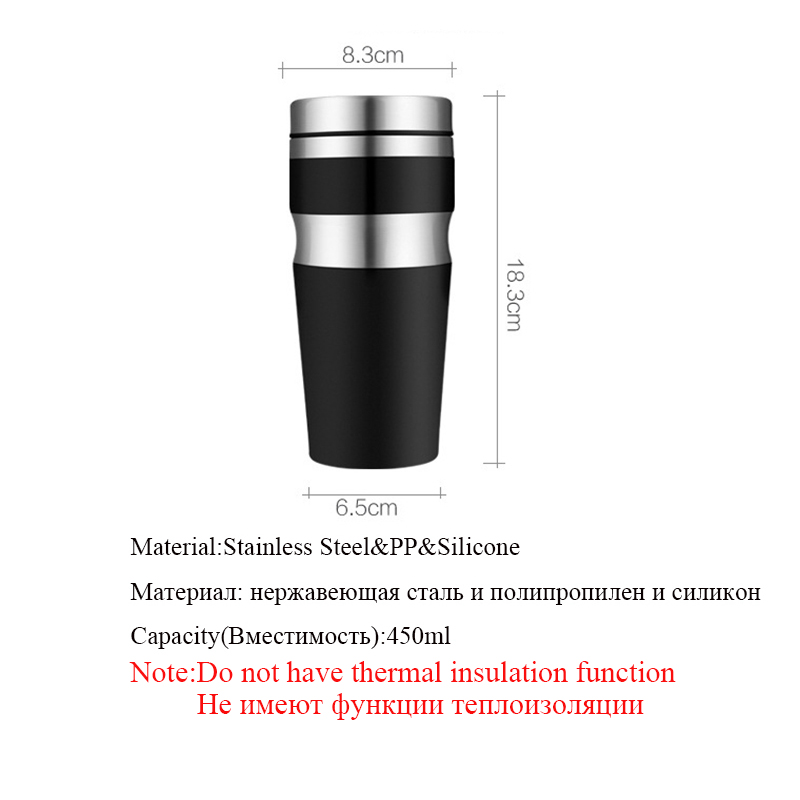 Hoomall 450ML Double Wall Thicken Stainless Steel Water Bottle Coffee Car Office Water Drinking Bottle Tumbler Gifts