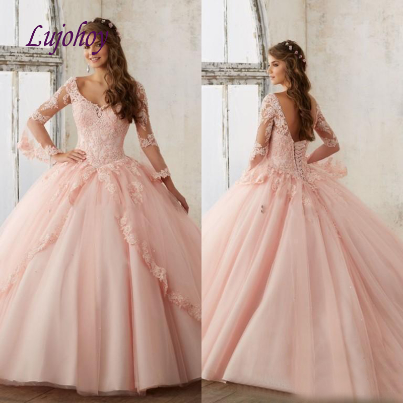 Pink Lace Long Sleeve Quinceanera Dresses Ball Gown Tulle Plus Size 15 Year Old Sixteen Sweet 16 Dress Prom Dresses Debutante