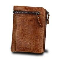 Genuine Cowhide Leather Men Wallet Short Coin Purse Vintage Wallet Brand High Quality Designer Wallet Rfid Card Purse QB238