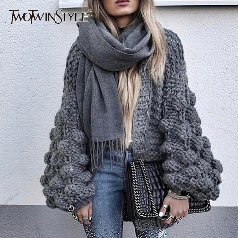 TWOTWINSTYLE Hollow Knitted Sweater Cardigan Women Long Sleeve Jumpers Tops Female Big Sizes Casual Clothes 2018 Autumn Winter
