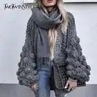 Twotwinstyle полые трикотажные свитера Кардиган женские осенние с длинным рукавом Свободные Большой размер женские джемперы Открыть стежка повс...