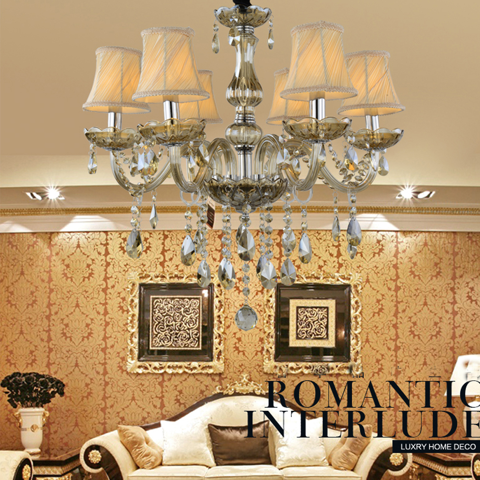 led e14 European Cognac Fabric Crystal Chandelier LED Light LED Lamp For Foyer Bedroom Dinning Room Lounge Area Hotel Villa ...