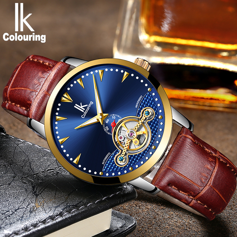 IK skeleton tourbillon mechanical watch men's fashion waterproof full-size men's business watches leather speed watch men's watc redfox сумка full size business messenger 1000 черный