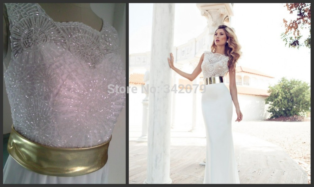 Ph03340 2014 embroidery beaded gold metal belt chiffon for Gold belt for wedding dress