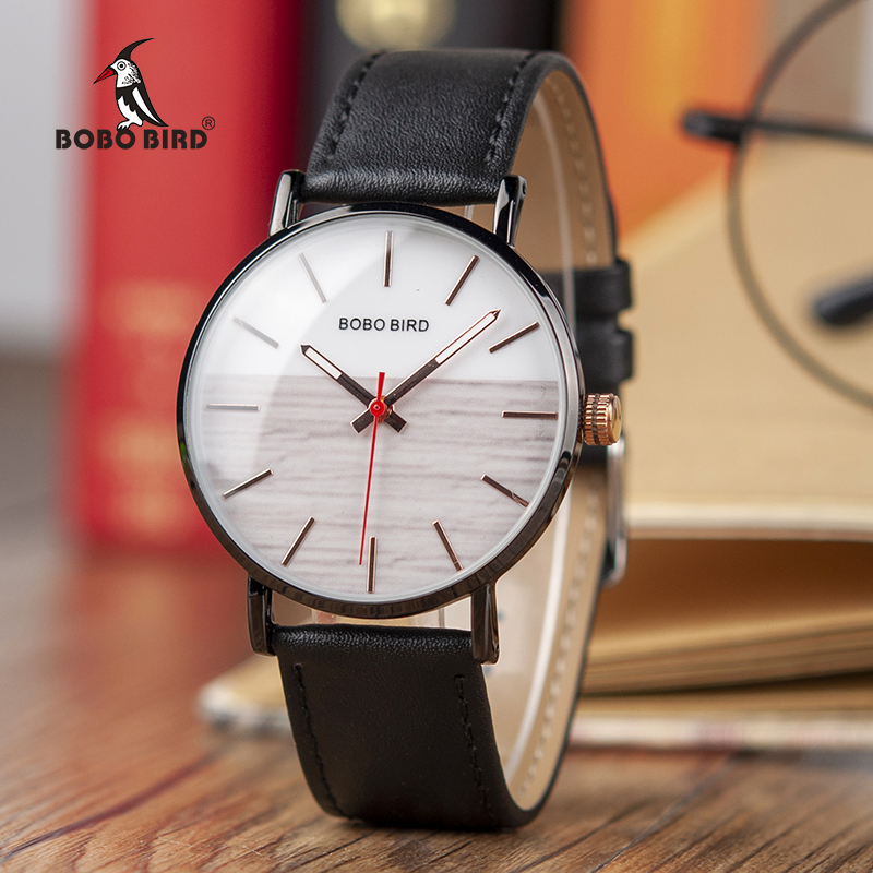 BOBO BIRD Leather Band Armbandsur Nya Designer Snygga Quartz Watch - Herrklockor