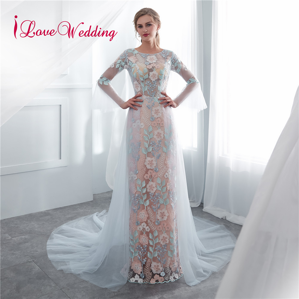 iLoveWedding Vestido longo Long Sleeves Floral Lace Long Evening Dresses Party Vestido De Festa Sheath Tulle Prom Gowns(China)