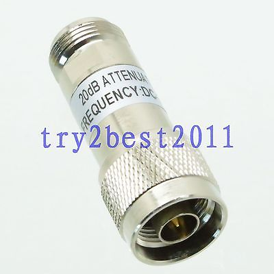 Attenuator N plug to jack pin 2W 2 Watts 20dB DC-3.0GHZ 50ohm RF coaxial Power attenuator 2w 2 watts dc 3 ghz 20db n rf coaxial power plug m to jack f 50 ohm 1pce