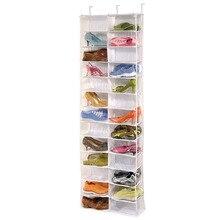 1Pc Useful 26-Pocket Shoe Rack Storage Organizer Holder Hook Folding Hanging on Door Closet Stock Offer