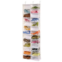 2017 New Useful 26-Pocket Shoe Rack Storage Organizer Holder Hook Folding Hanging on Door Closet Hot selling